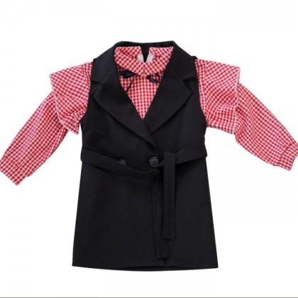 Elegant Dreamer Top + Vest (Red)