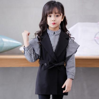 Elegant Dreamer Top + Vest (Black)