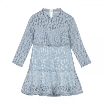 Charming Girl Dress - Dusty Blue