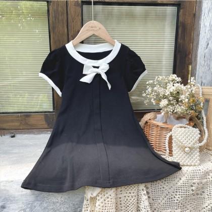 Contrast Trims Solid Dress - Black