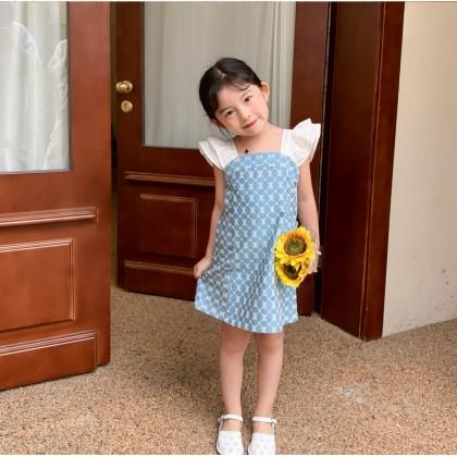 Floral Motifs Denim Dress - Light Blue