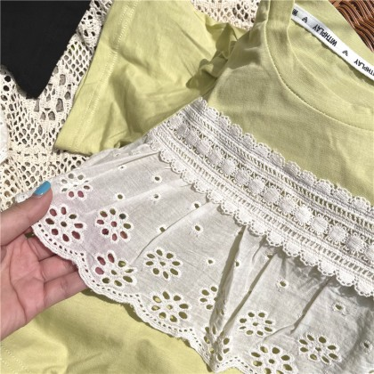 Lace Insert Top - Green