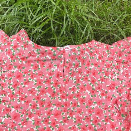 Frills Detail Floral Top